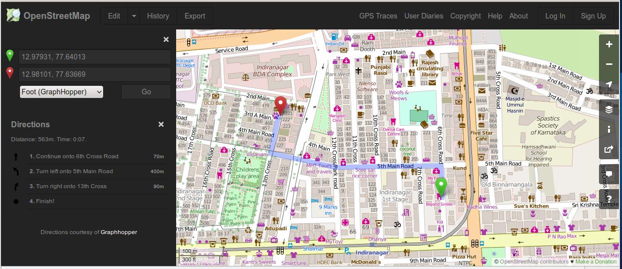 Screenshot of OpenStreetMap Dark Theme from Greasemonkey