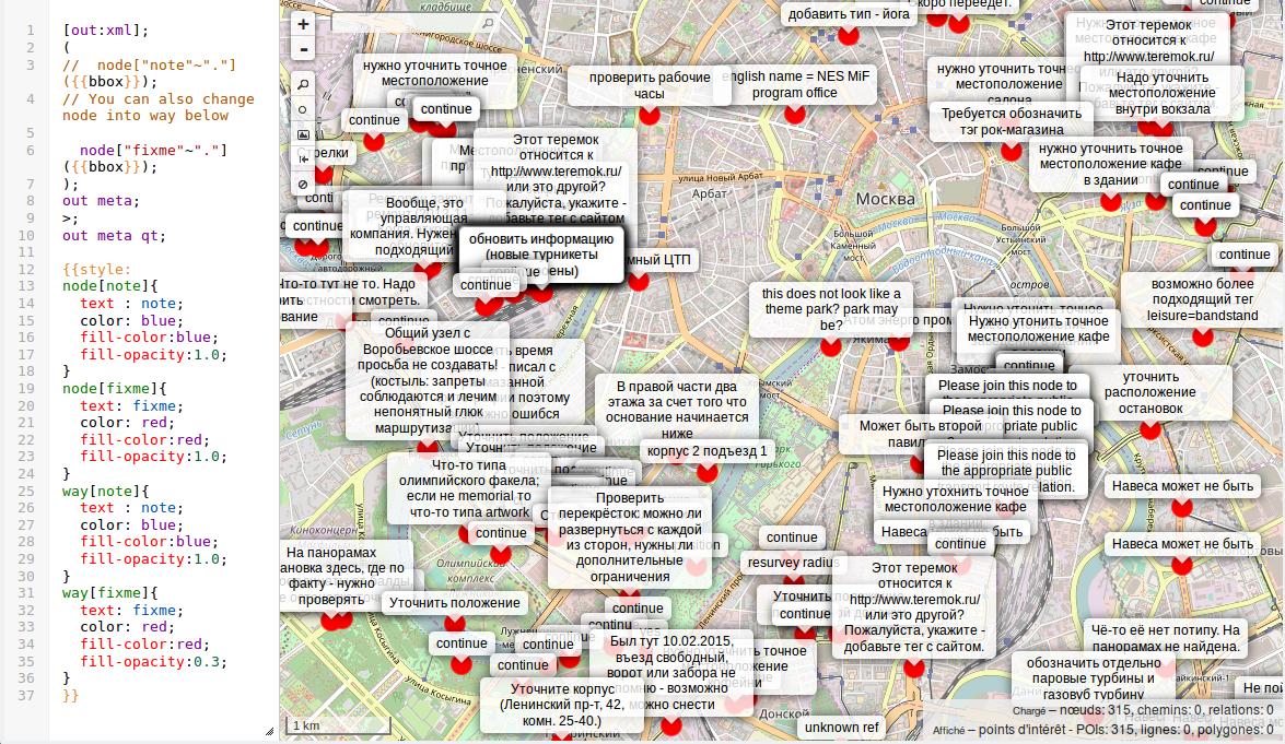 Beispielkarte der Overpass-Abfrage aller fixmes